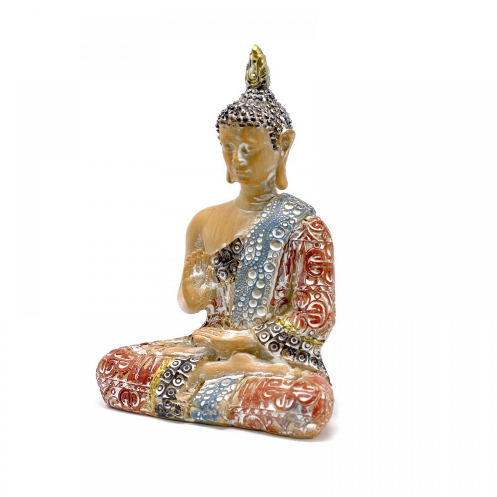 Thai Buddha - Protection - Terraccotta & Sky Blue 15 cm