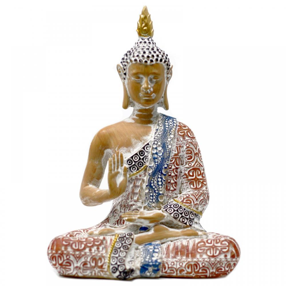 Thai Buddha - Protection - Terraccotta & Sky Blue 26 cm