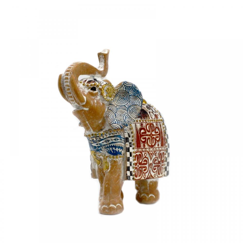 Thai Elephant - Good Luck - Terraccotta & Sky Blue 11 cm