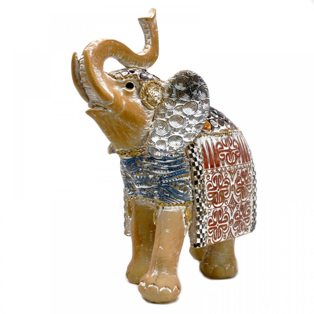 Thai Elephant - Good Luck - Terraccotta & Sky Blue 21 cm