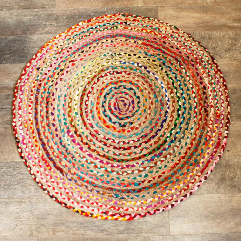 Round Jute and Recycled Cotton Rug - 120 cm