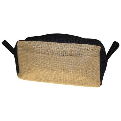 Jute Toiletry Bag - Natural & Black