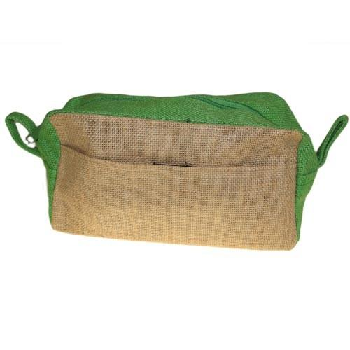 Jute Toiletry Bag - Natural & Green