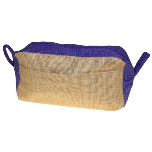 Jute Toiletry Bag - Natural & Lavender