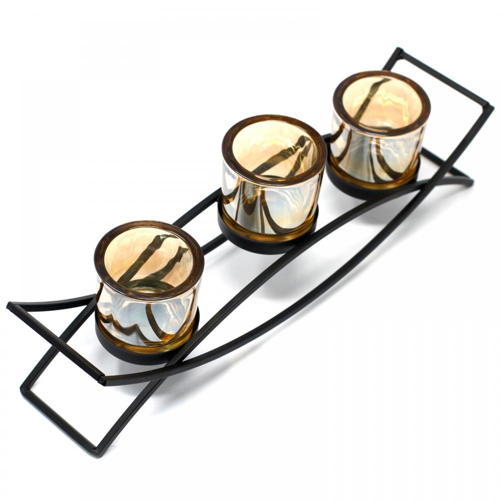 Centrepiece Iron Votive Candle Holder - 3 Cup Silluethe