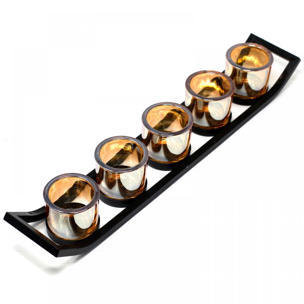 Centrepiece Iron Votive Candle Holder - 5 Cup Ledge