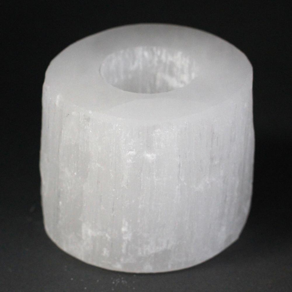 Selenite Cylinder Candle Holder - 8 cm