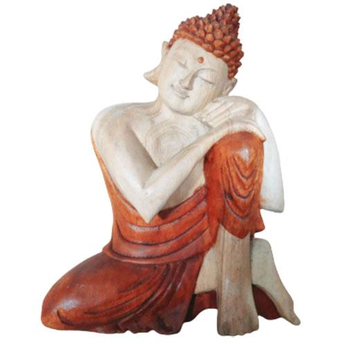 Hand Carved Buddha Statue - 25cm Thinking