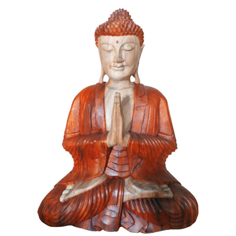 Hand Carved Buddha Statue - 30cm Pray