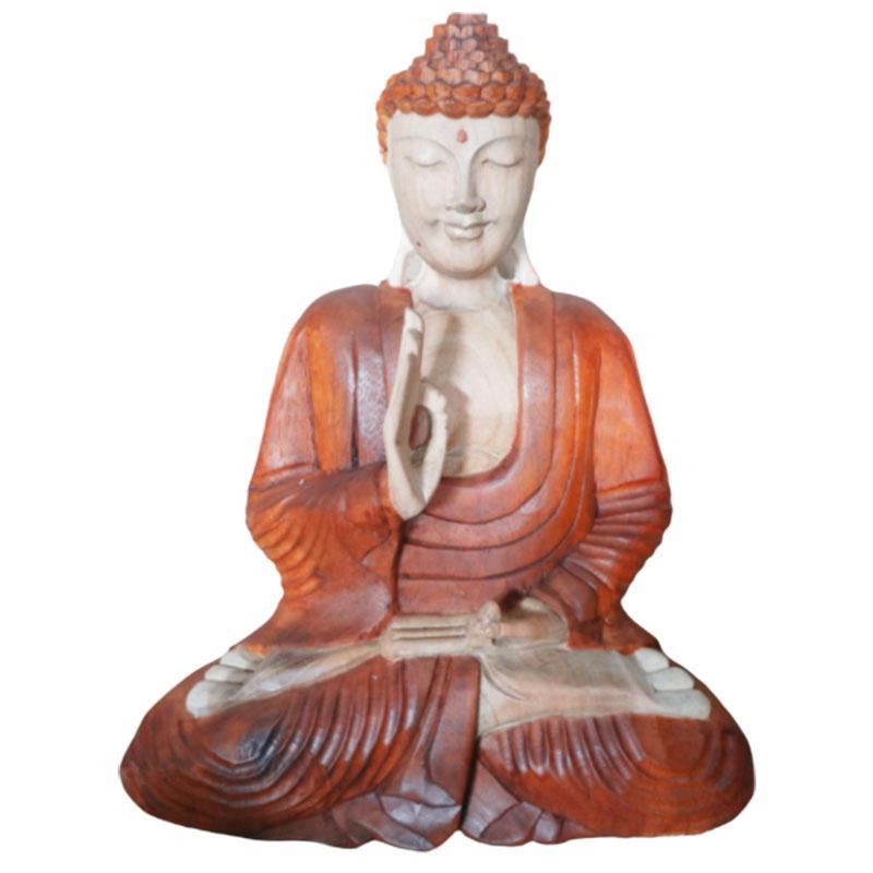Hand Carved Buddha Statue - 40cm Pray