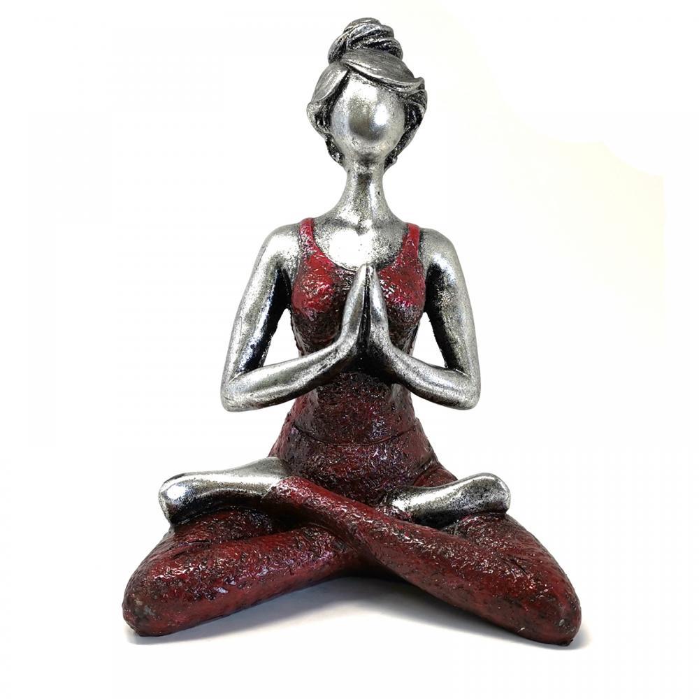 Yoga Lady Figure -  Silver & Bordeaux 24cm