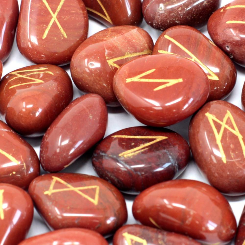 Runes Stone Set in Pouch - Red Jasper