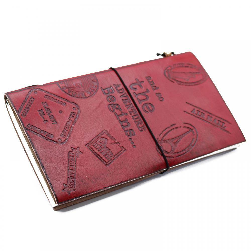 Handmade Leather  Journal- The Adventure Begins - Red - (80 pages)