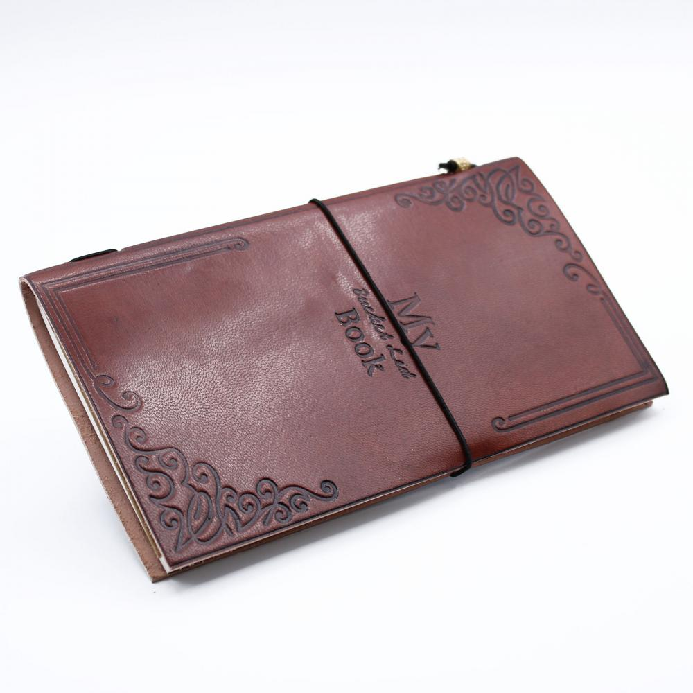 Handmade Leather Journal - My Bucket List Book - Brown (80 pages)