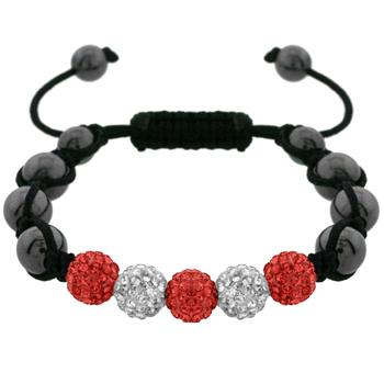 Red and White Crystal Bracelet with Hematite Beads