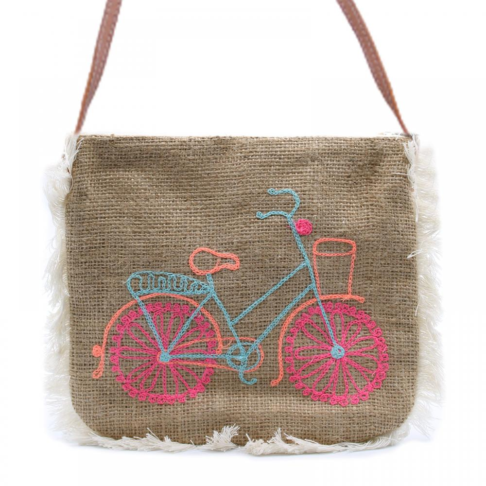 Fab Fringe Bag - Bicycle Embroidery