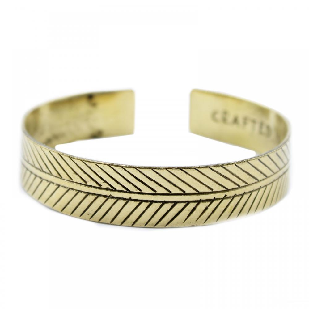 Brass Tibetan Bracelet - Wide Tribal Leaf