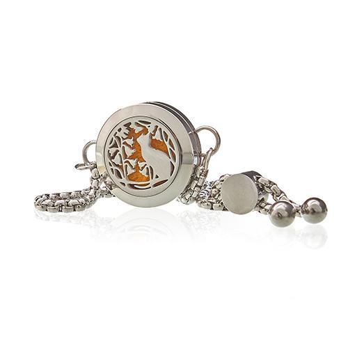Aromatherapy Jewellery Chain Bracelet - Cat & Flowers - 20mm