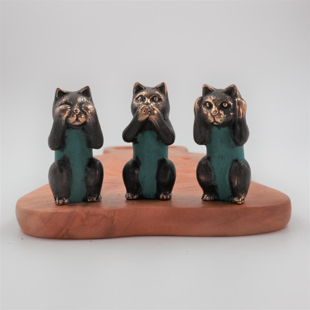 Set of 3 - See No, Hear No, Speak No Evil - Brass Cats