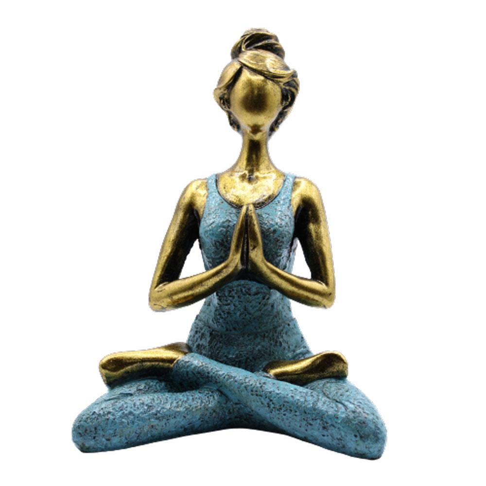 Yoga Lady Figure -  Bronze & Turqoise 24cm
