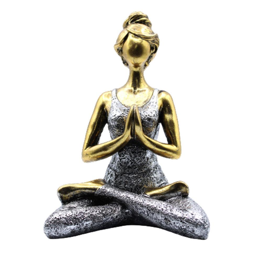 Yoga Lady Figure -  Bronze & Silver 24cm