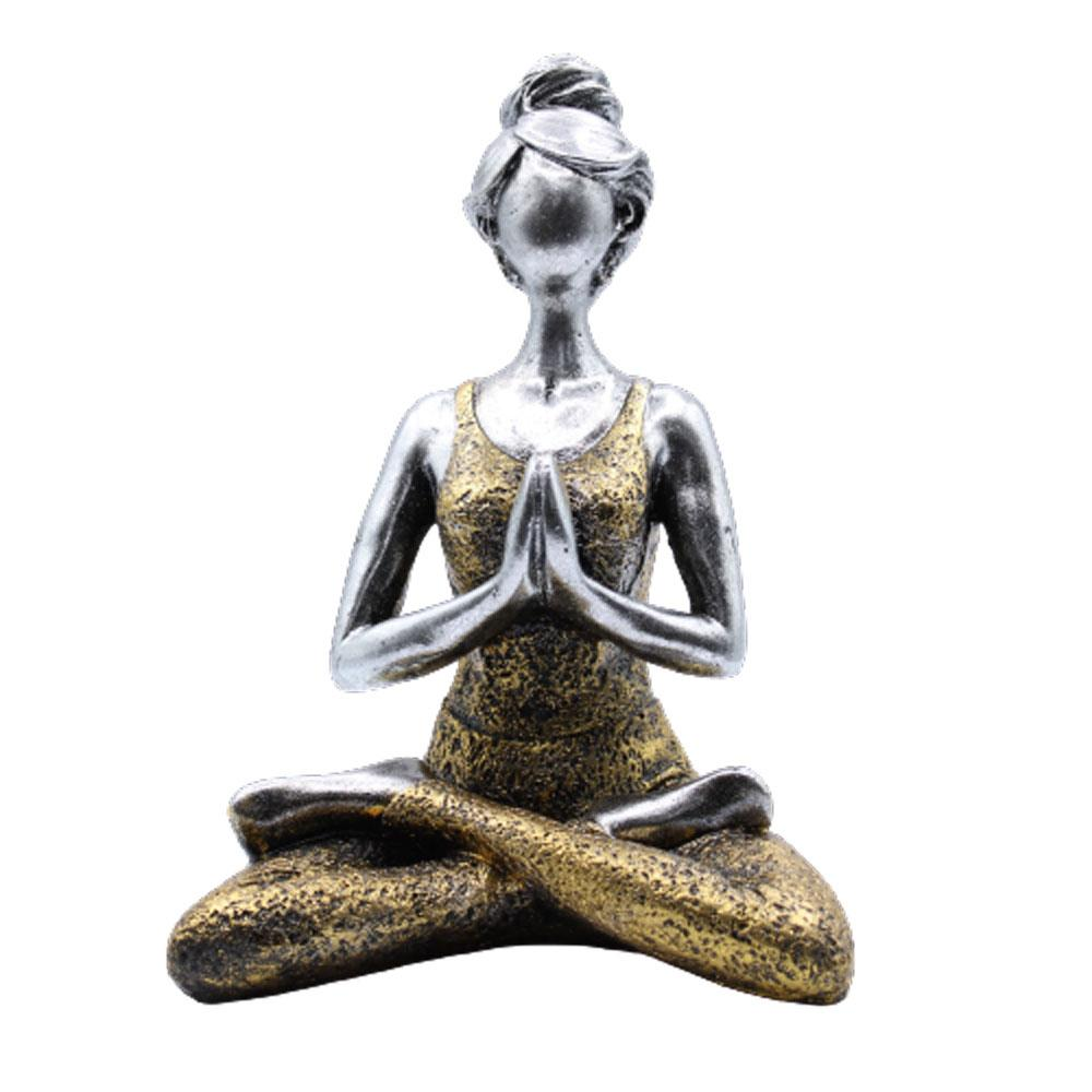 Yoga Lady Figure -  Silver & Gold 24cm