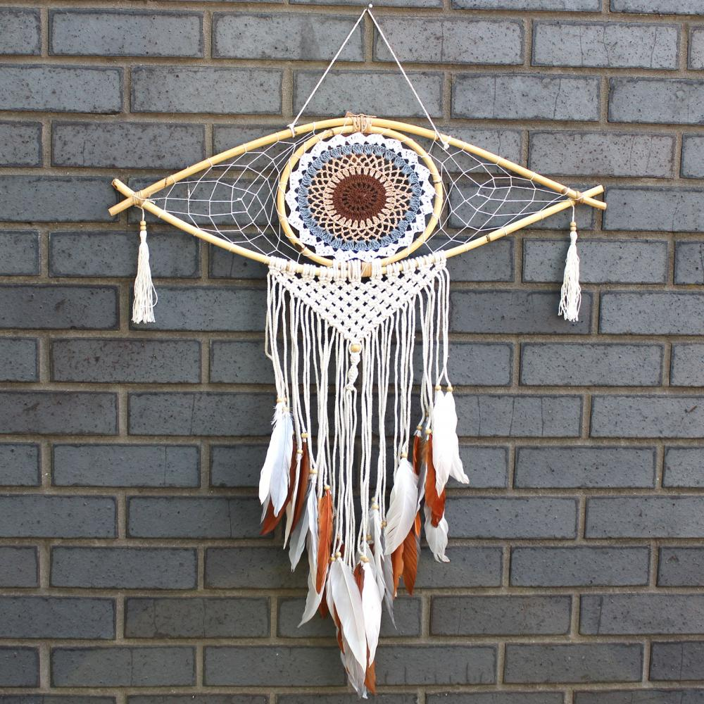 Protection Dream Catcher - Lrg Macrame Evil Eye White/ Grey/Brown