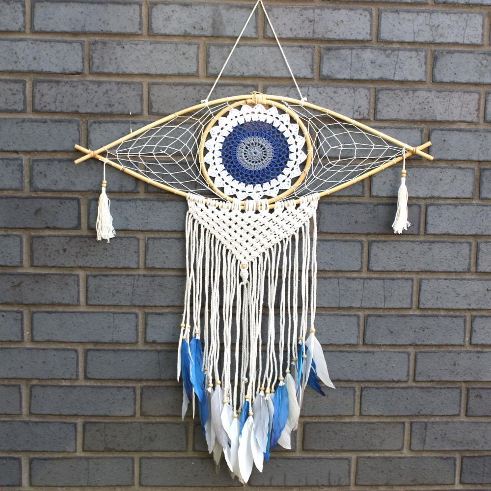 Protection Dream Catcher  - Lrg Macrame Evil Eye White/ Blue/Grey