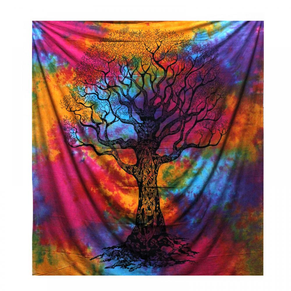 Double Cotton Bedspread + Wall Hanging - Winter Tree