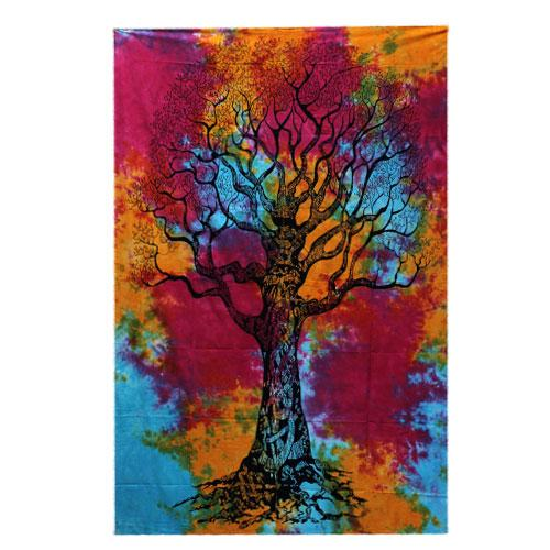 Single Cotton Bedspread + Wall Hanging -   Winter Tree