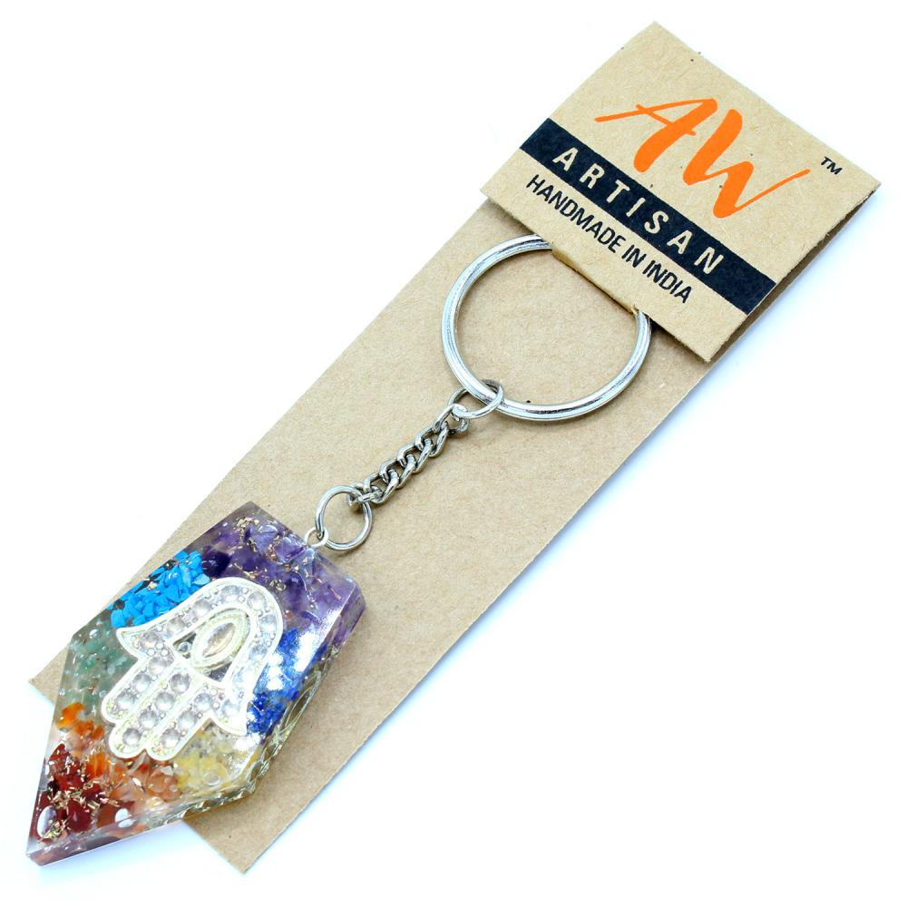 Orgonite Power Keyring - Gemstone Chakra Hamsa