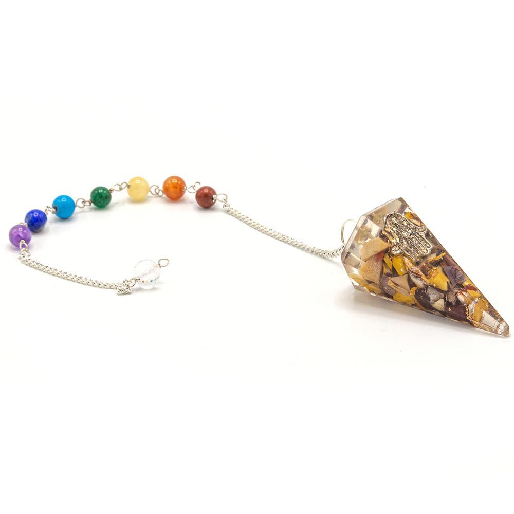 Orgonite Power Chakra Pendulum - Hamsa