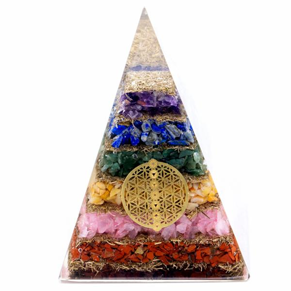 Orgonite Pyramid - Seven Chakra Flower of Life - 70 mm