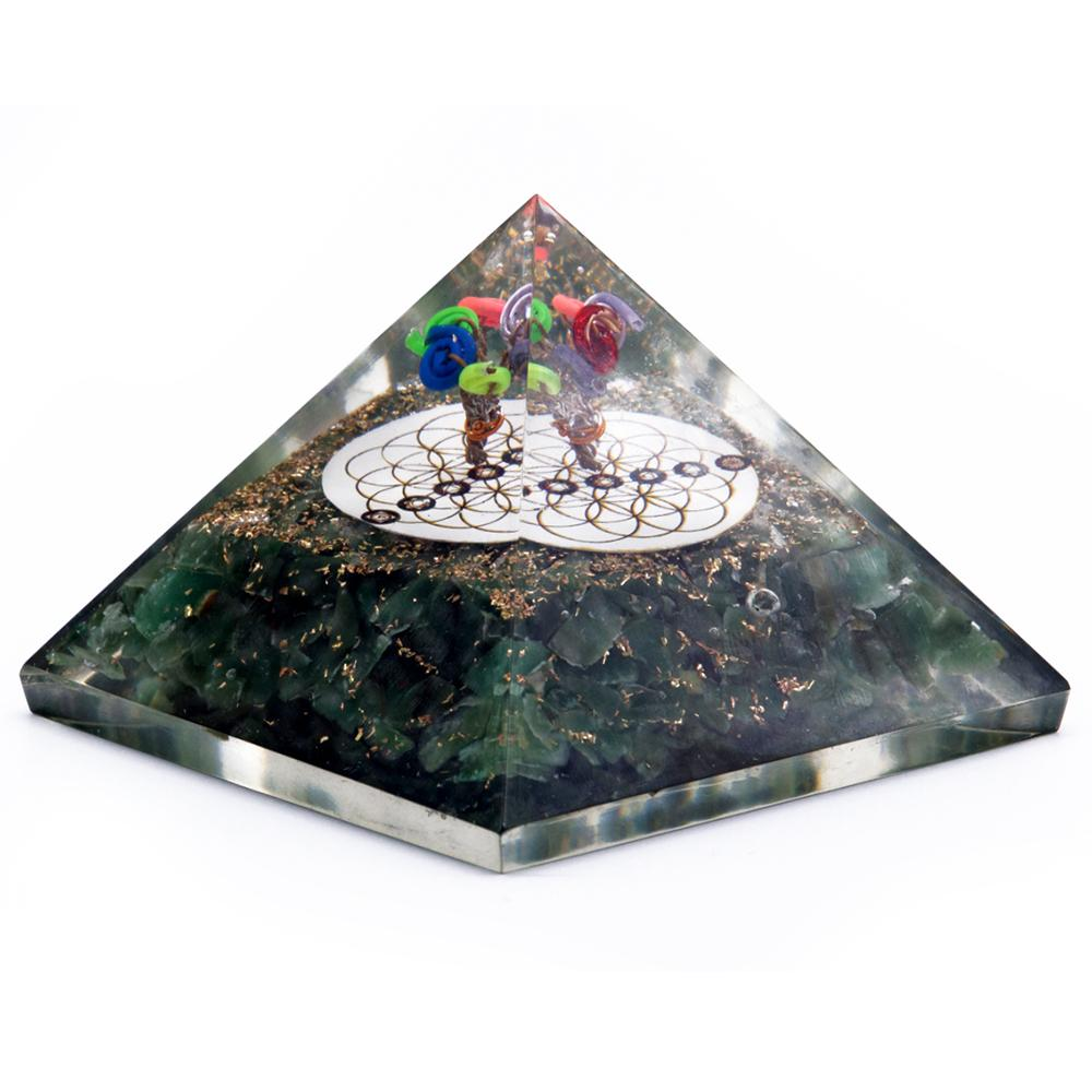 Orgonite Pyramid - Green Aventurine Flower of Life - 70 mm