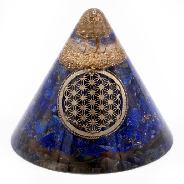 Orgonite Cone - Lapis Flower of Life - Suspended Quartz - 90 mm