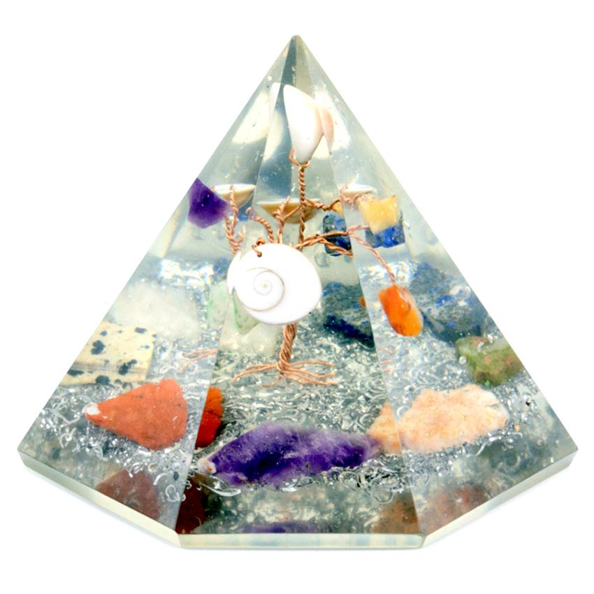 Orgonite 7 sided Pyramid - Gemstone Wisdom Tree - 90 mm
