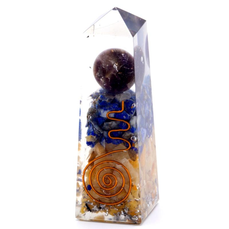 Orgonite Obelisk Power Point Copper, Lapis and Yellow Aventurine - 90x25 mm