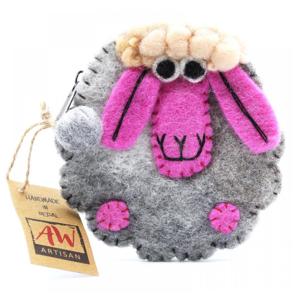 Natural Felt Zipper Pouch (asst) - Happy Sheep