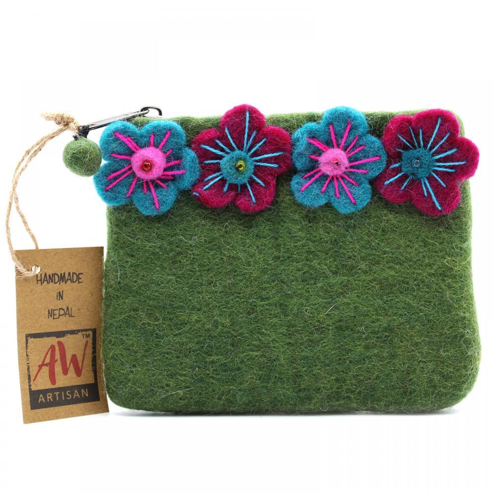 Natural Felt Zipper Pouch (asst) - Four Flowers