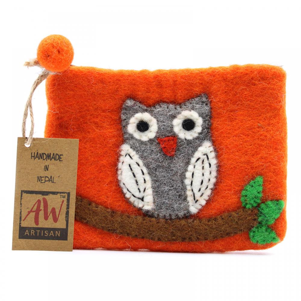 Natural Felt Zipper Pouch (asst) - Owl on Branch