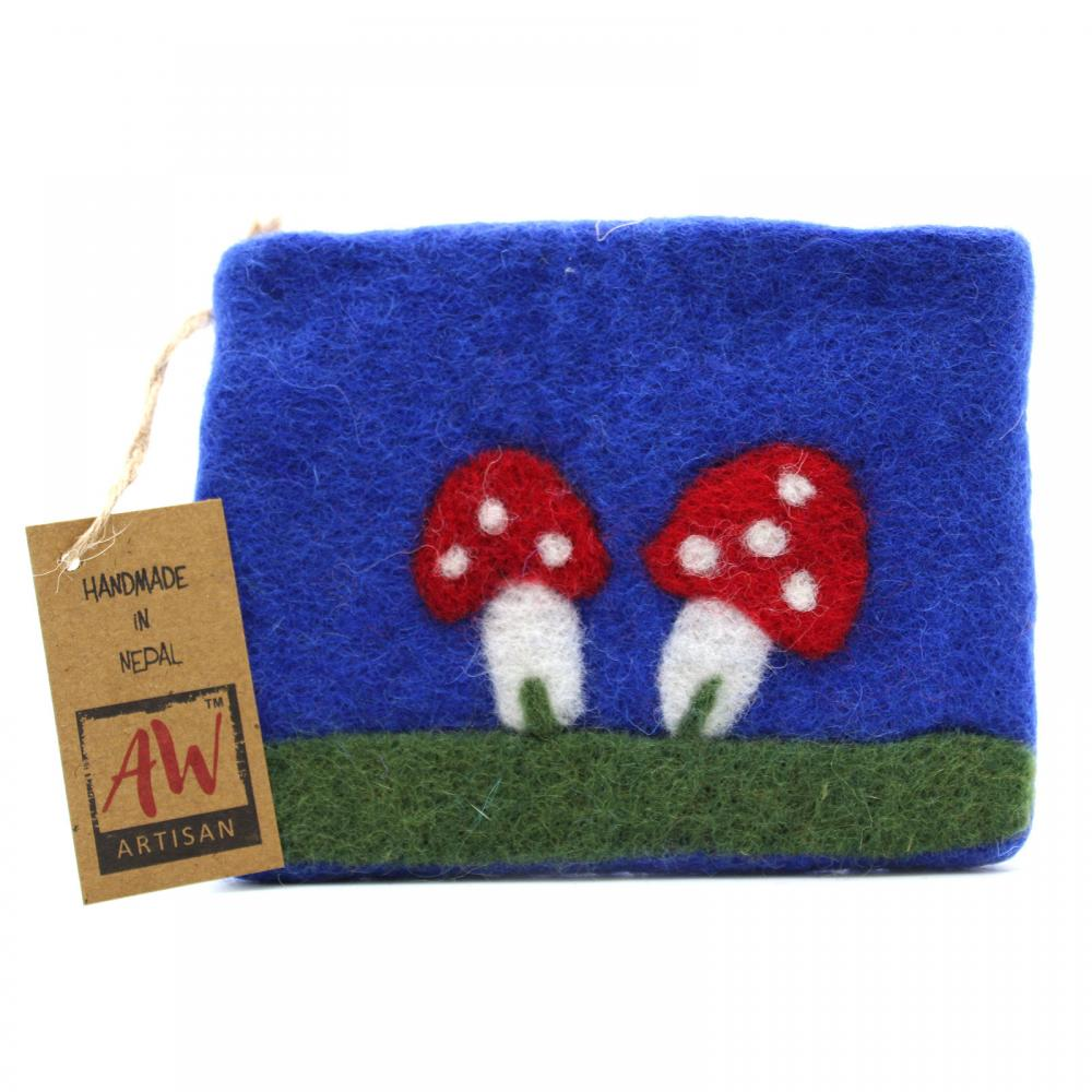 Natural Felt Zipper Pouch (asst) - Mystic Mushrooms