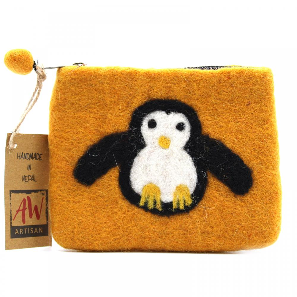 Natural Felt Zipper Pouch (asst) - Cute Penguin