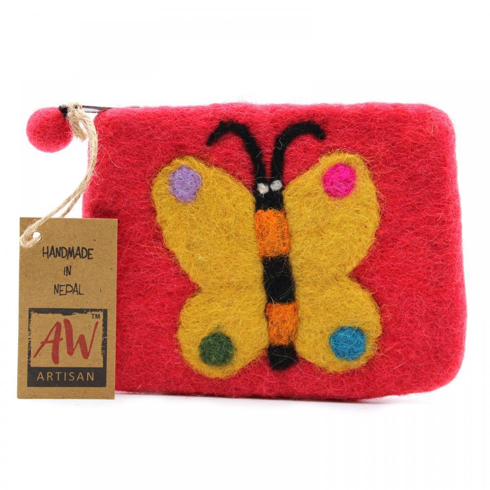 Natural Felt Zipper Pouch (asst) - Big Butterfly