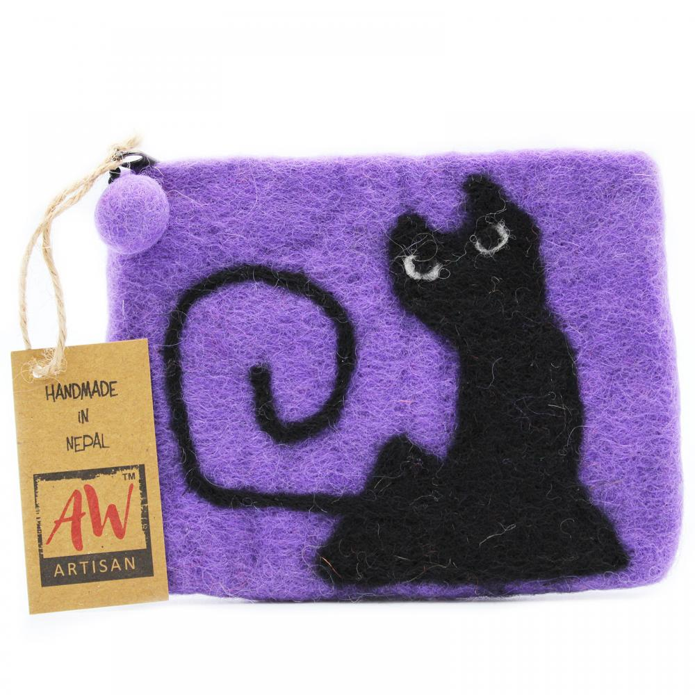Natural Felt Zipper Pouch (asst) - Black Cat