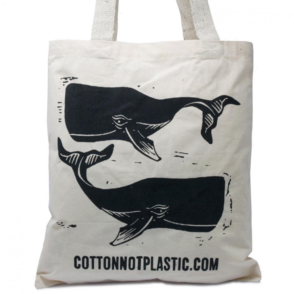 Lrg Natural 6oz Cotton Bag 38x42cm - WHALES