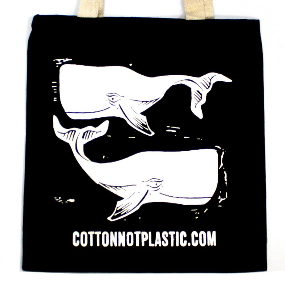 Lrg Black 8oz Cotton Bag 38x42cm - WHALES - WHITE