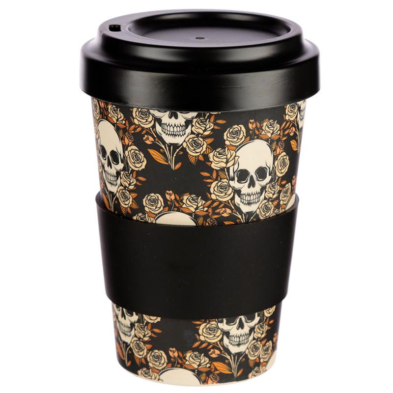Skull and Roses Bamboo Biodegradable Screw Top Travel Mug