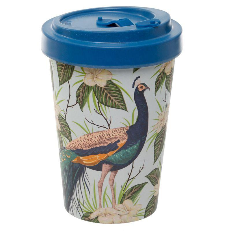 Peacock Reusable Screw Top Bamboo Composite Travel Mug