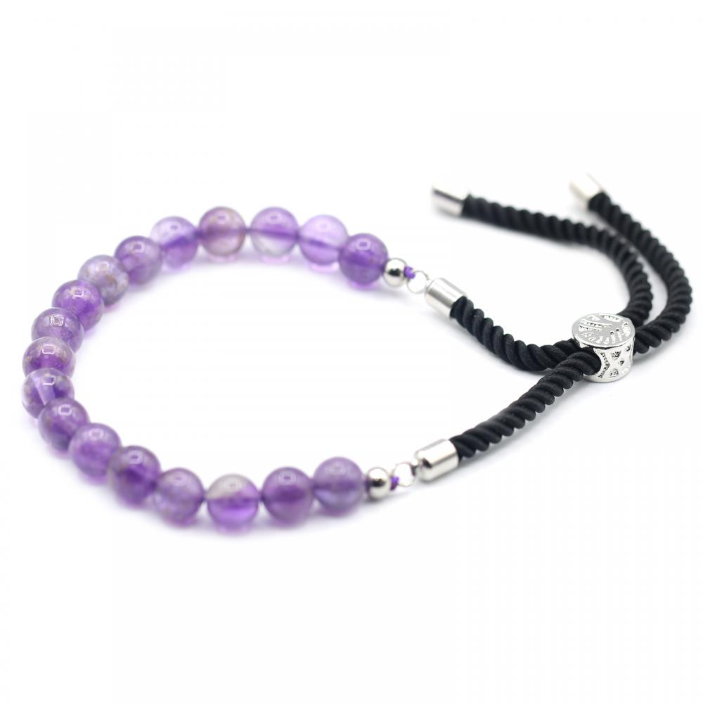 925 Silver Plated Gemstone Black String Bracelet - Amethyst