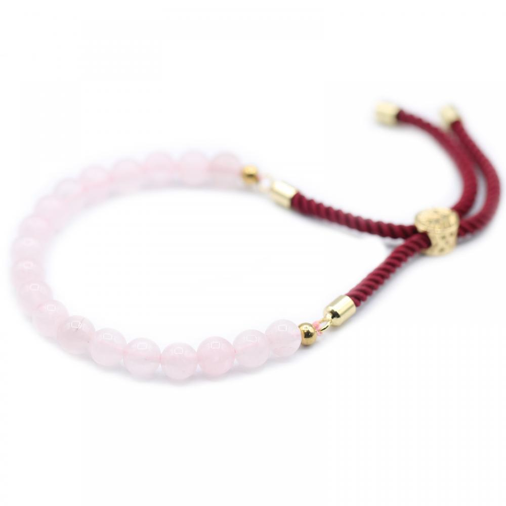18K Gold Plated Gemstone Bordeaux String Bracelet - Rose Quartz